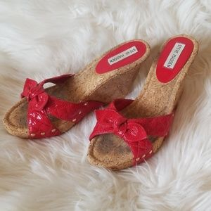 Steve Madden Cork Wedges with Red Patent Leather